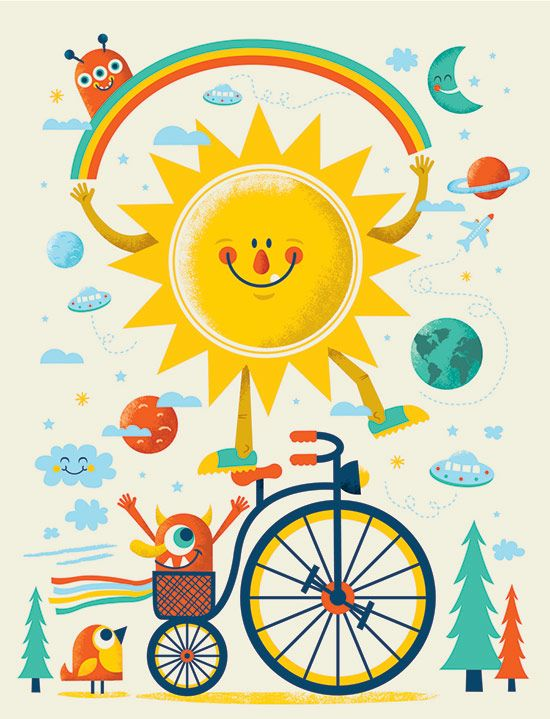 Sun illustration for National Bike Month