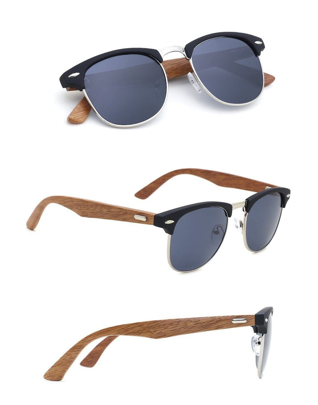 aba9772ae12 Mens Bamboo Wooden Semi-Rimless Horn Rimmed Wayfarer Clubmaster Sunglasses  - H - CC1253DL74D -