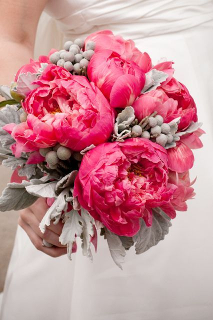 Pink and grey wedding bouquet by Holly Chapple Flowers #weddingbouquet #pinkbouquet #flowers