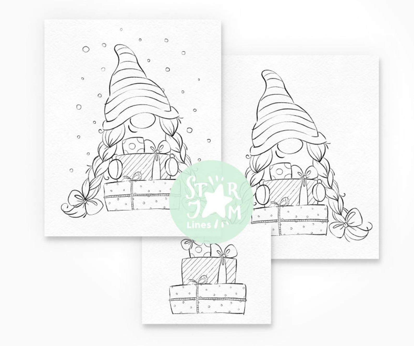Christmas Gnome. Digi Stamp Nordic Coloring Page Gifts