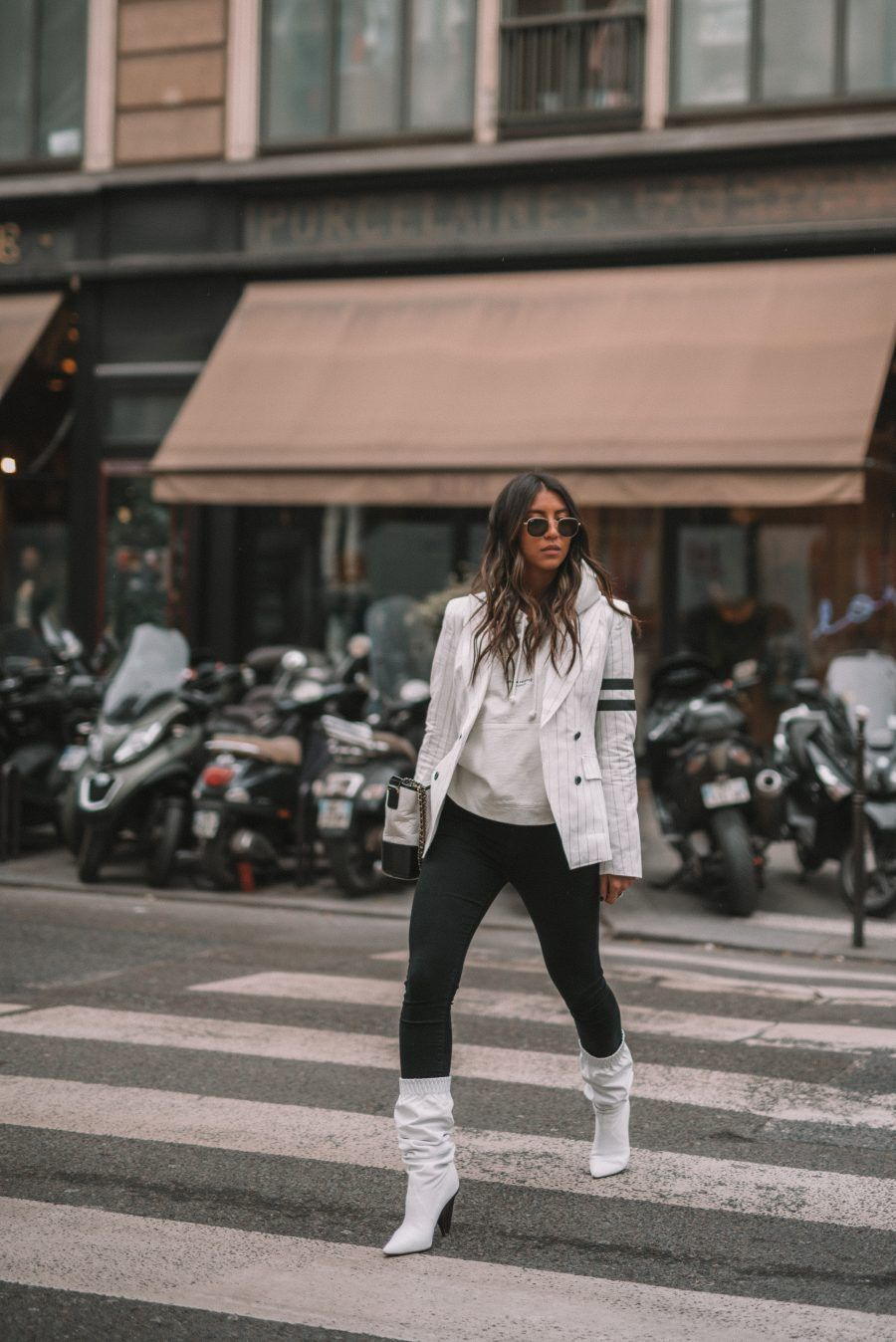 40bf1eebdf5 sosken blazer white stripe gabrielle chanel bag acne ice white hoodie  sigerson morrison white boots igk texture hair spray texture waves mane  addicts kayla ...