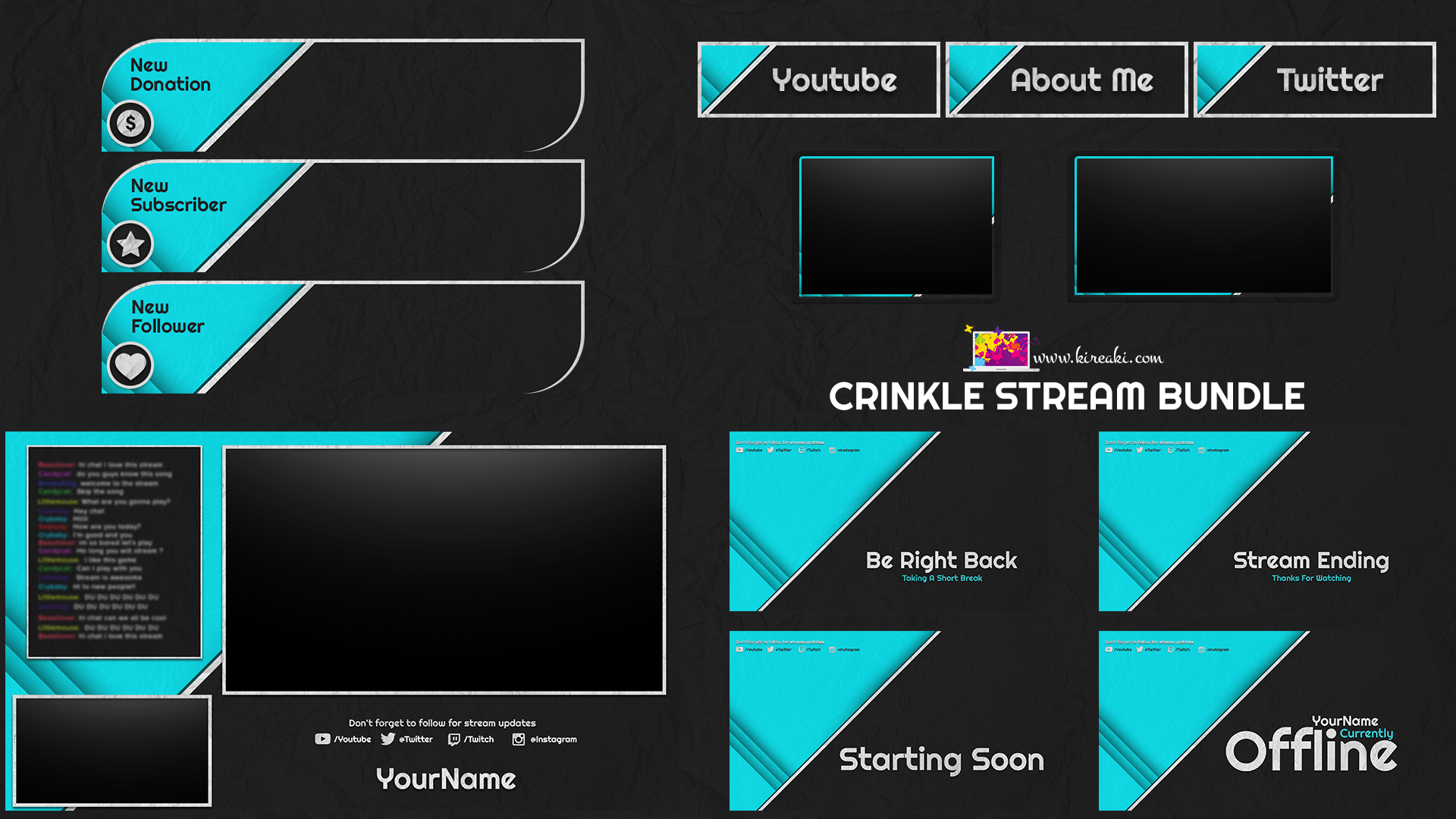 Cyan Crinkle Stream Bundle Gaming banner, Overlays, App
