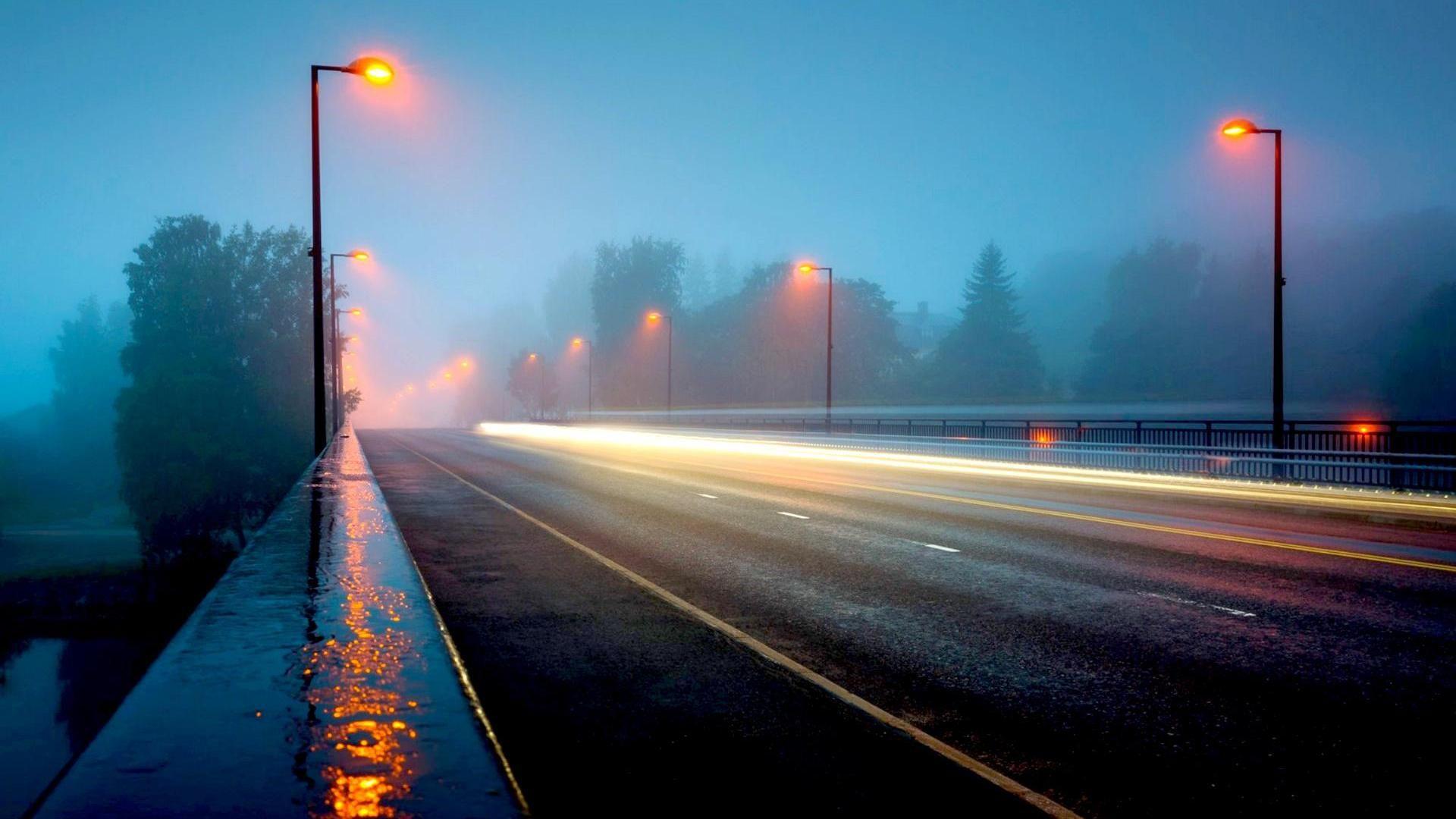 A Highway Bridge In Foggy Rainy Night HD Desktop Background Wallpaper Free