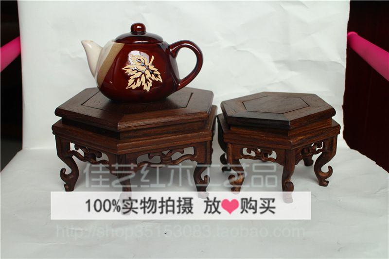 Seis Taiwan hueco alto ángulo de piedra base de té Muebles Para El - bao de piedra