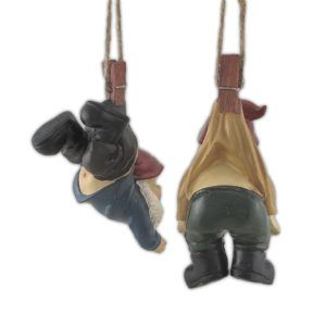 Garden Gnomes Dangling from Clothes Pins  http://gnomemiracle.com/garden-gnomes-dangling-from-clothes-pins/