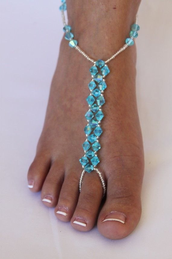 Barefoot Sandals Beach Wedding Foot Jewelry by ABiddaBling on Etsy