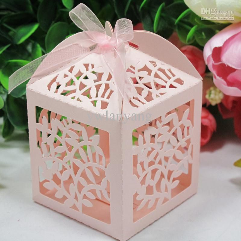 Laser Cut Favor Candy Gift Boxes With Ribbon For Wedding Party