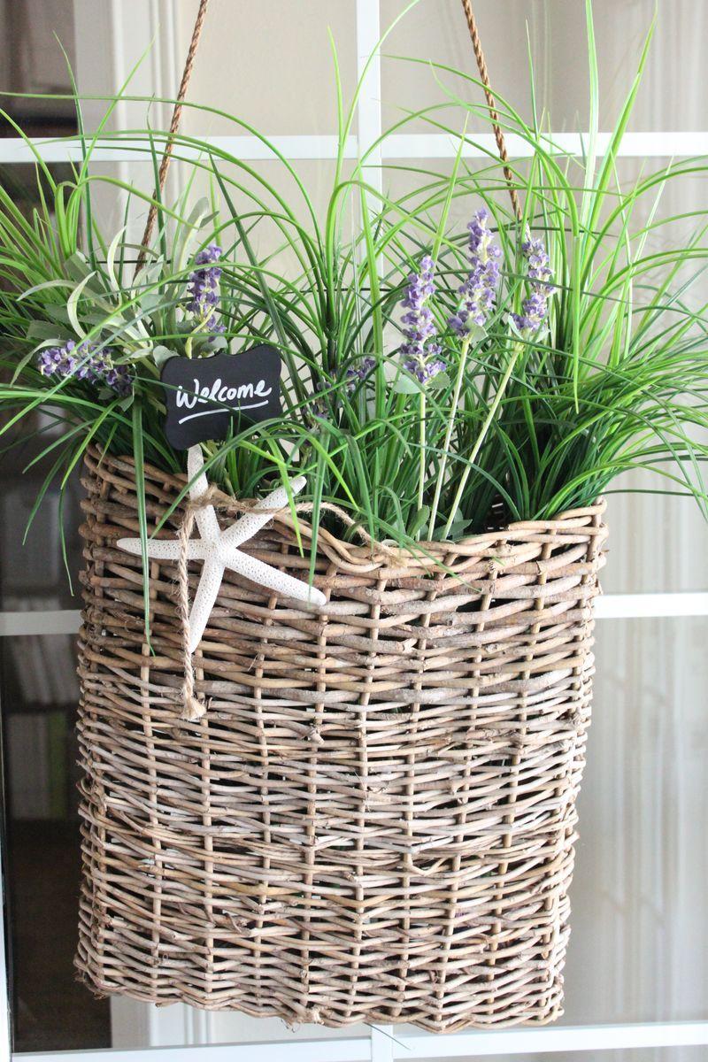 Beach,Coastal living,Seaside home decor,front door,lavender flowers,basket starfish ...