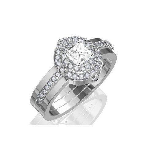 1.67 CaratPrincess Cut DiamondWedding Ring Set on 18K White Gold FineTresor. $10483.17. Diamond Color: I-J. Center Dimond Carat Weight: 1.00. Metal: 18 K White Gold. Center Diamond Cut: Princess. Diamond Clarity: I1-I2