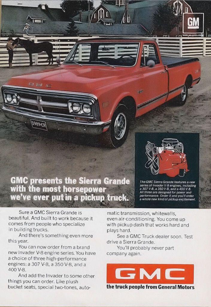 1969 gmc sierra grande truck ad the most horsepower we 39 ve ever put into a pickup truck dream. Black Bedroom Furniture Sets. Home Design Ideas