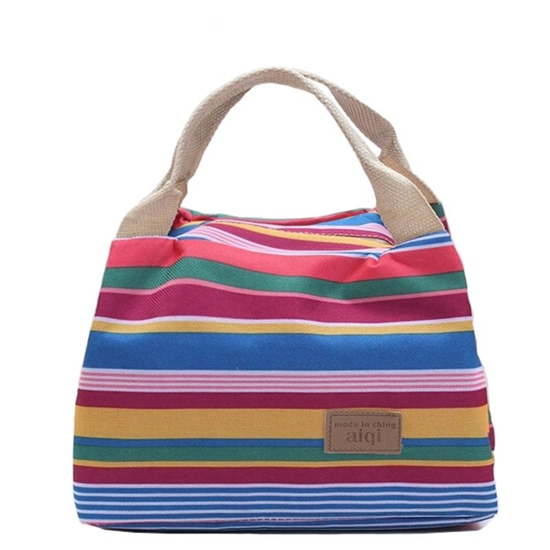 New 2017 Fashion Stripe Cooler Insulated Tote Lunch Bag Women Children Zipper Cold Thermal Food