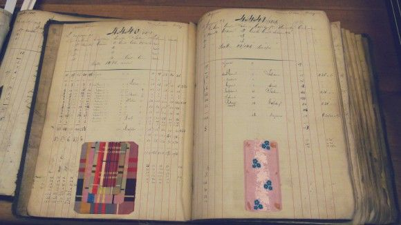 1892 antique french ribbon ledger, Saint Etienne