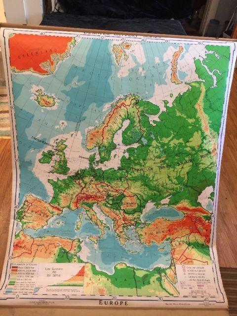 1956 denoyer geppert europe map j2rp pull down mid century modern 1956 denoyer geppert europe map j2rp pull down mid century modern canvas backed ebay gumiabroncs Images
