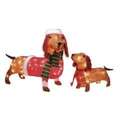 Set Of 2 Light Up Wiener Dogs Outdoor Decoration Set Kmart