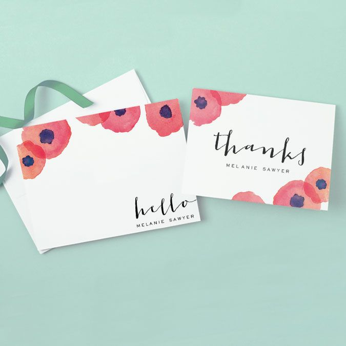 Watercolor flowers personal stationery and thank you card from expressionery.com