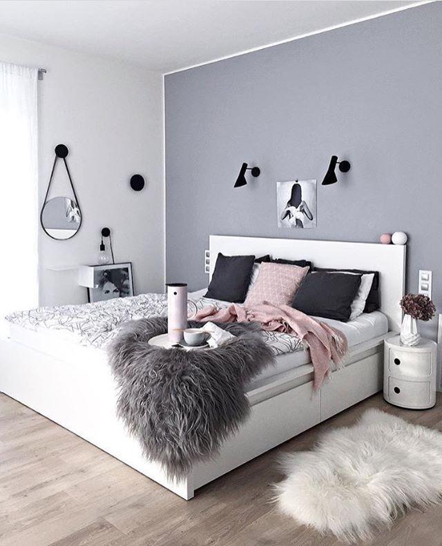 Charmant Bildergebnis Für Rosa Grau Zimmer. Wandfarbe Inkl Weißem Rand + Weisses Bett