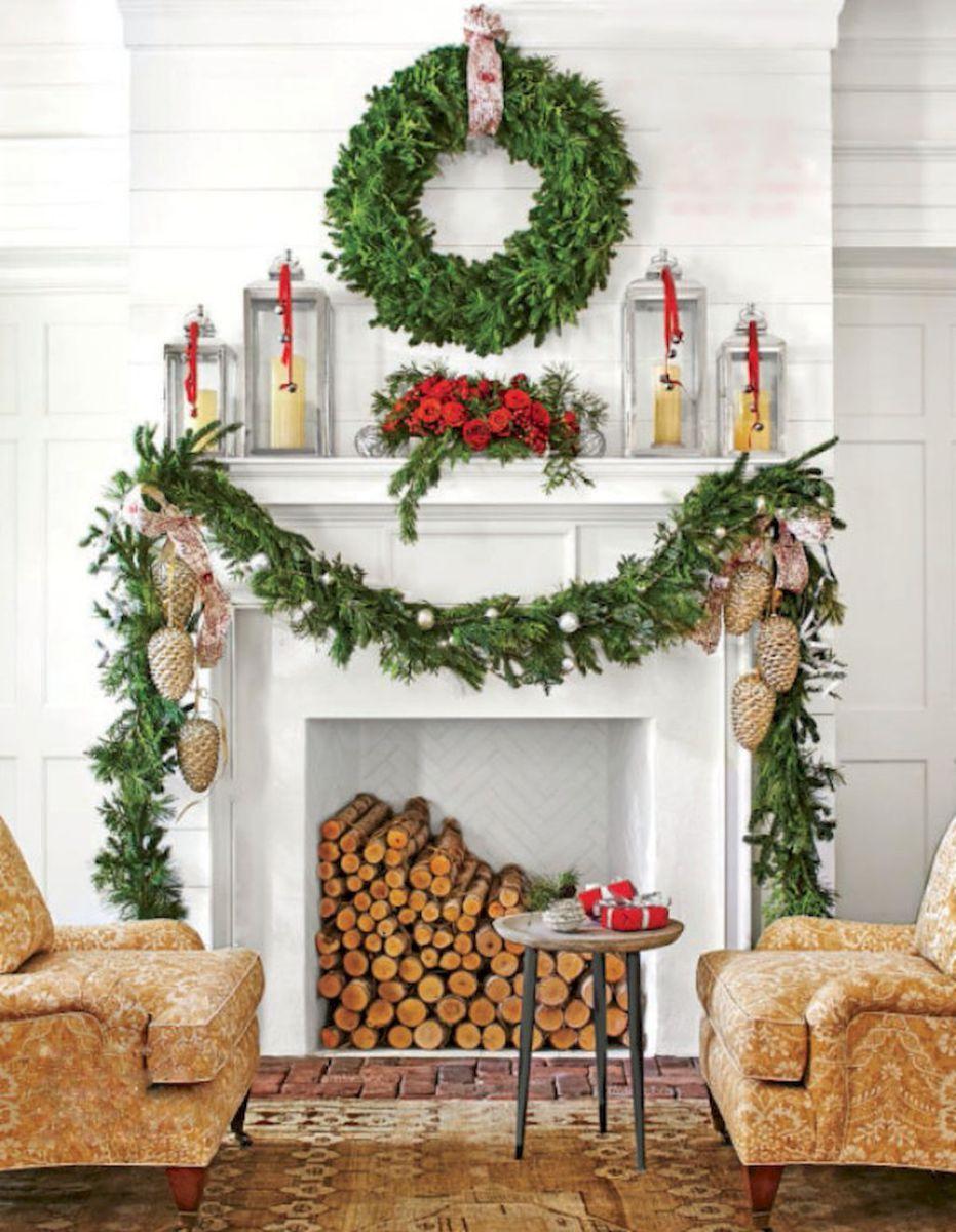 best christmas fire pit mantel decorating ideas 53