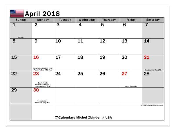Calendar april 2018 with the holidays of the usa free printable calendar