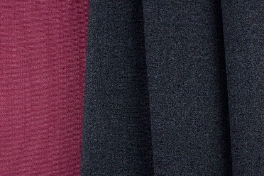 Britex Fabrics -  Reversible Midweight Berry & Charcoal Stretch Wool - Wool - Fabric