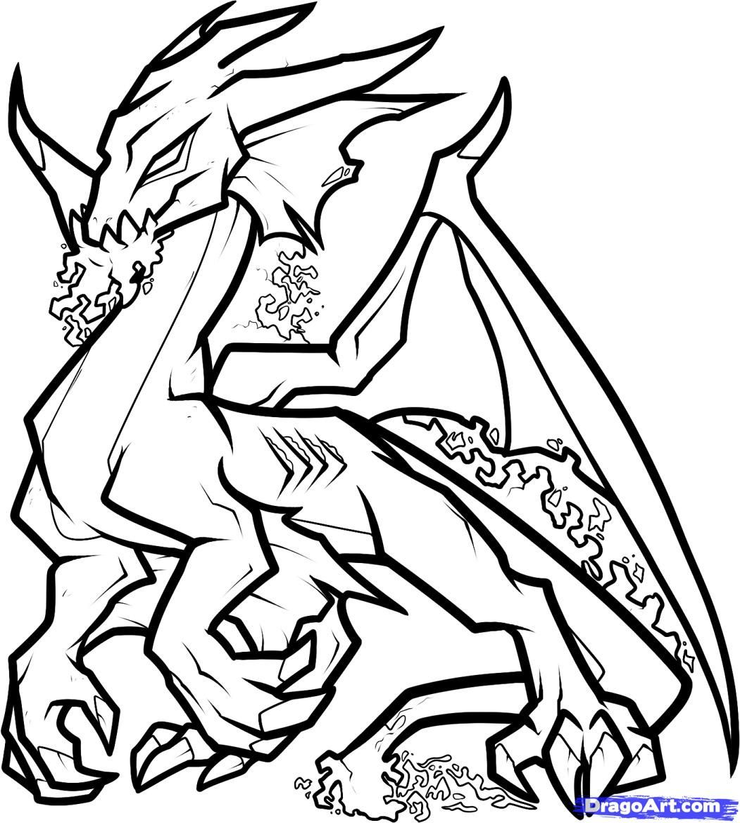 Coloring pages of dragons - Draw The Rest Of The Dragon S Back And Tail Like So And Notice How The