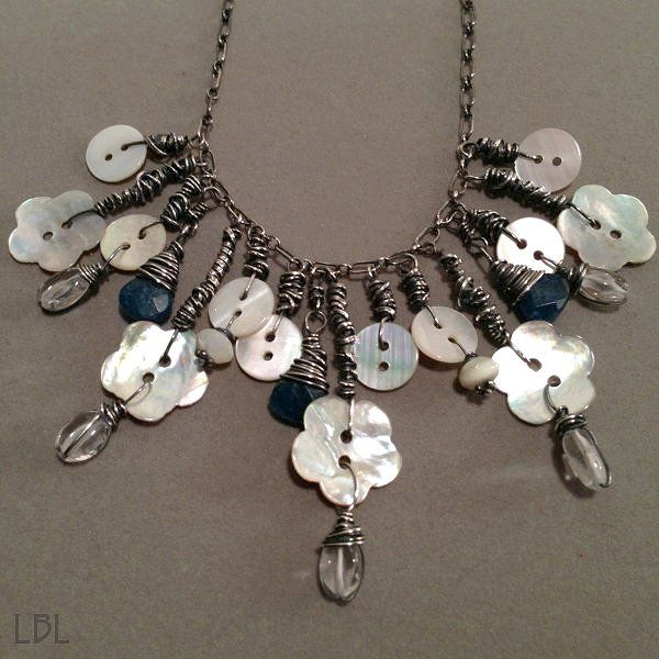DIY- Bohemain Mother Of Pearl Button Necklace (TUTORIAL) -Great gift idea!