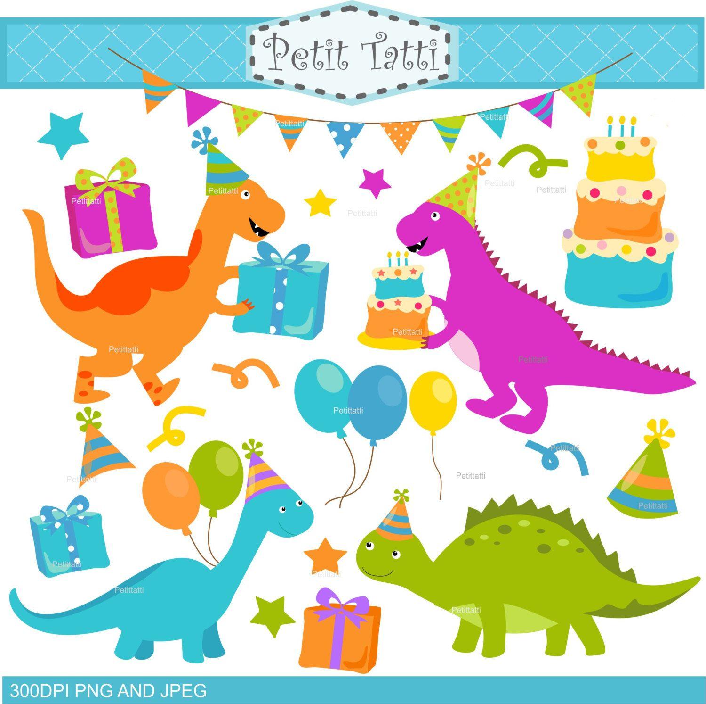Открытка с динозаврами на день рождения