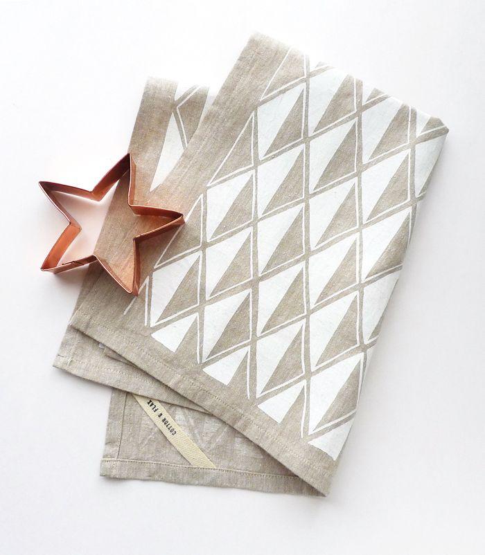 Cotton & Flax - white diamond teatowel