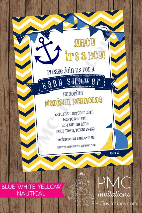chevron yellow white blue nautical baby shower invitations - 1.00, Baby shower invitations
