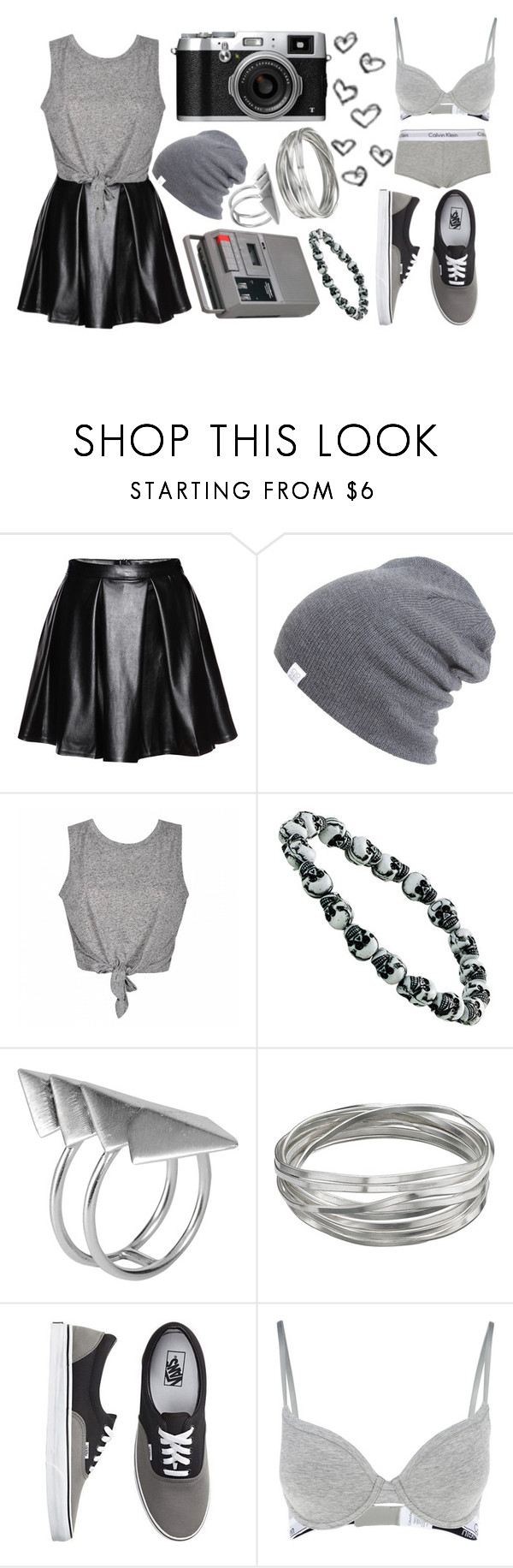 """Grey"" by mariashontz ❤ liked on Polyvore featuring CASSETTE, NESSA, First People First, Whistles, Vans, Calvin Klein and Topshop"