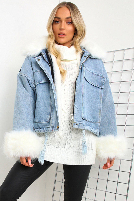 Blue Denim Faux Fur Jacket Denim Jacket With Fur Fur Jacket Diy Denim Jacket [ 1500 x 1000 Pixel ]