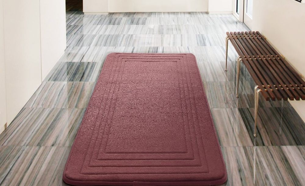 Hotel Bordered Foam Padding Cushioned Microfiber Red Bath Rug 24 X