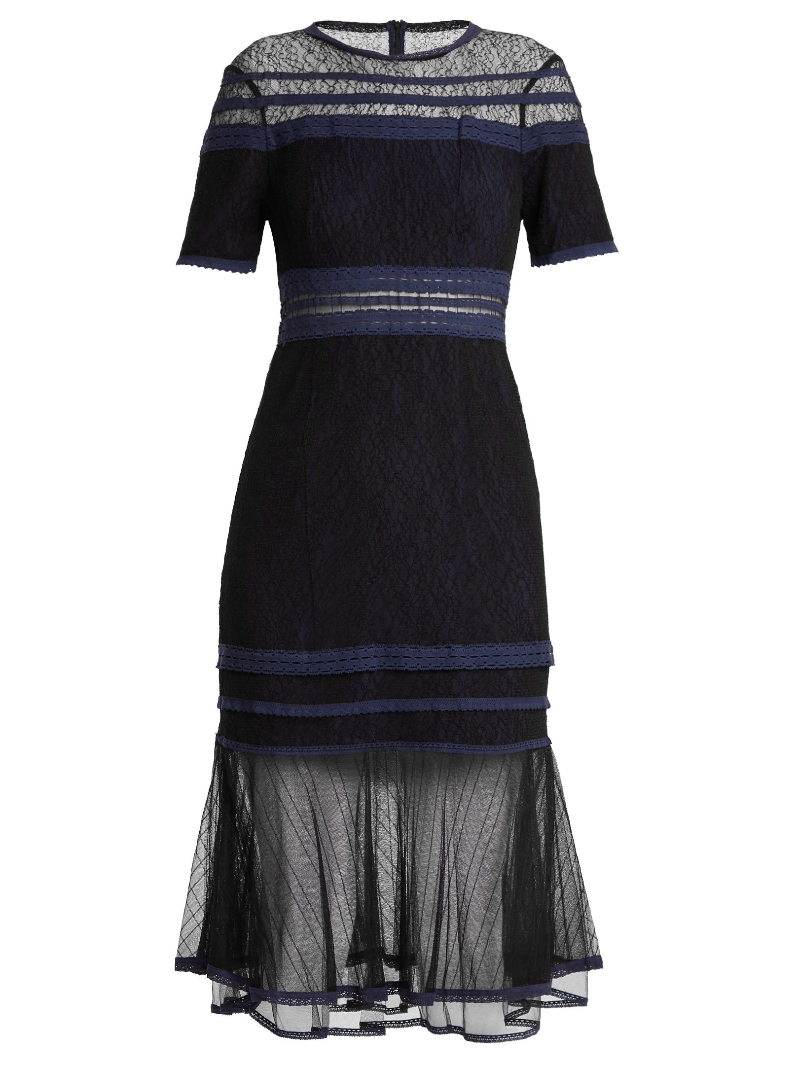 Shortsleeved lacepanel dress panel dress chantilly lace and aw