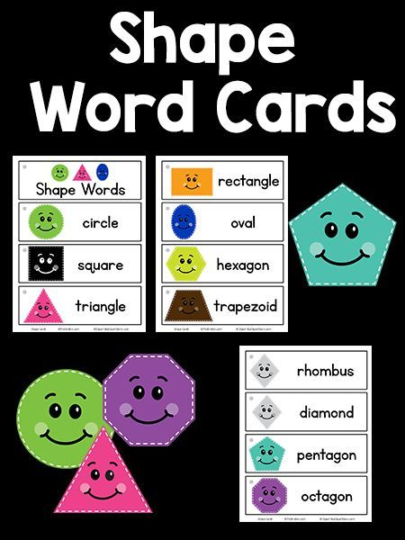Shape Picture-Word Cards Preschool Math Activities Shapes, Words