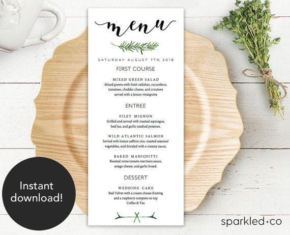 Greenery Wedding Menu Template Botanical Wedding By Sparkledco