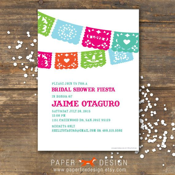 Fiesta Bridal Shower Invitation . I like the colors. I can make the invitations here at work btw. Free is good :)