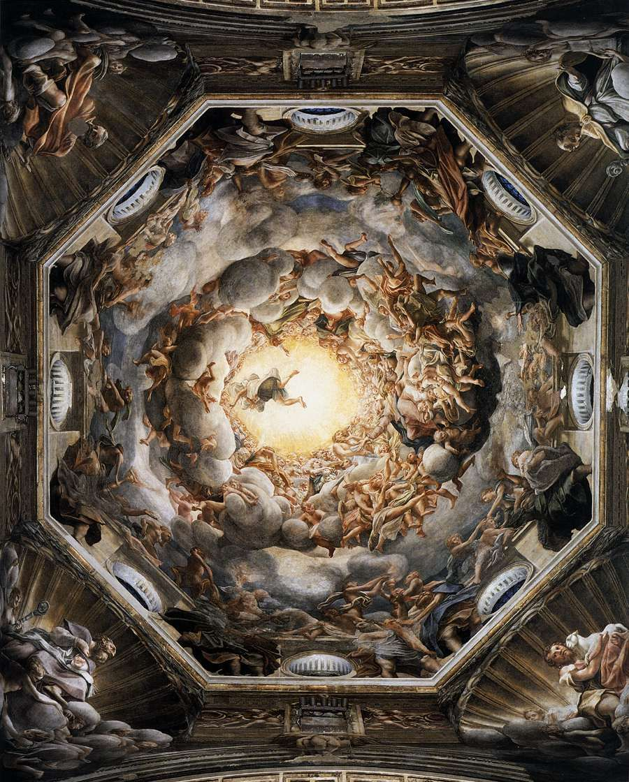 Assumption of the Virgin (1526-30) by Correggio Fresco, 1093x1195 cm. Duomo, Parma.  This fresco (a painting in plaster with water-soluble pigments) anticipates the Baroque style of dramatically illusionistic ceiling painting. #renaissanceart