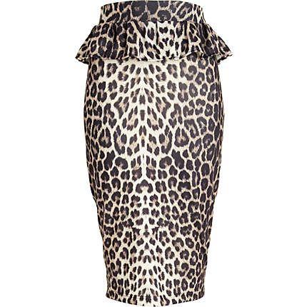 brown leopard print peplum pencil skirt - midi skirts - skirts - women -  River Island e1f18a8b7