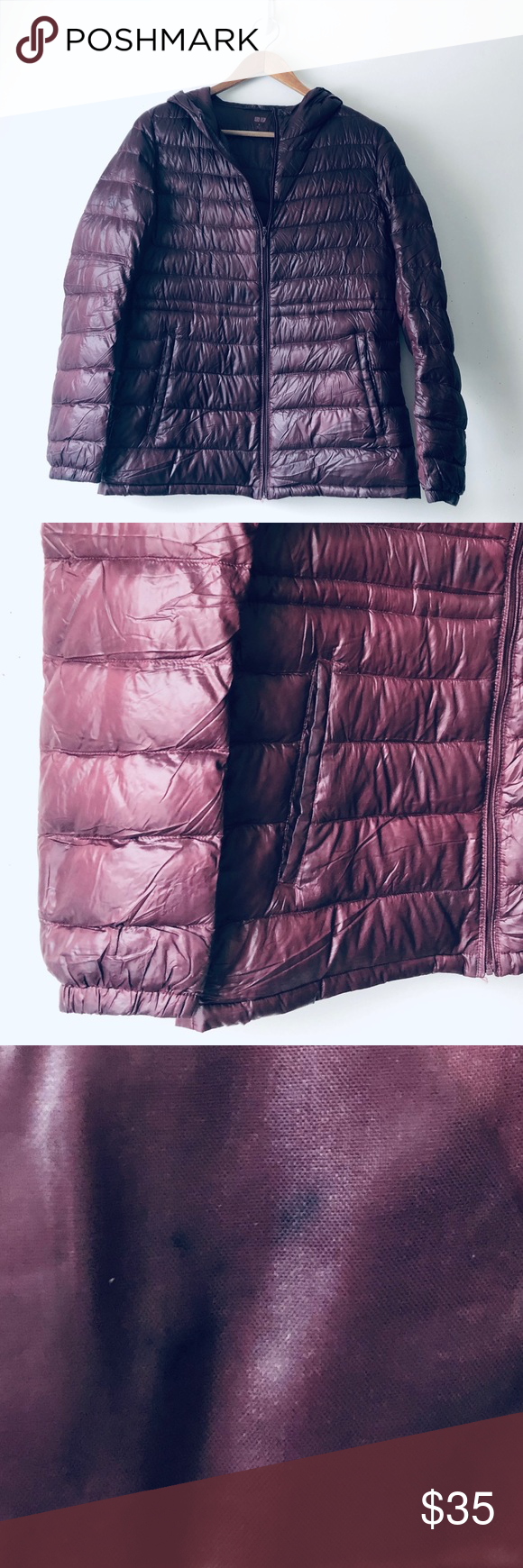 Uniqlo Maroon Puffer Down Jacket (M) in 2020 Down jacket