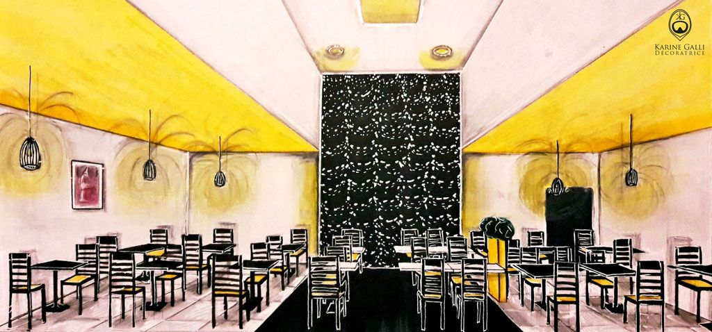 Salle De Restaurant Avec Puit De Lumiere Ambiance Moderne Jaune Noir Et Blanc Meuble Salon Restaurant Noir Et Blanc