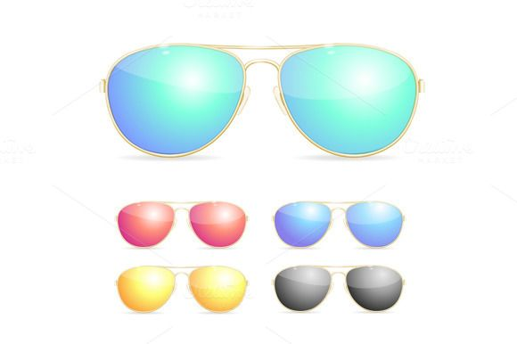 6ffd12663cf9f Aviator Colorful Sunglasses Set. by Stacy on Creative Market ...