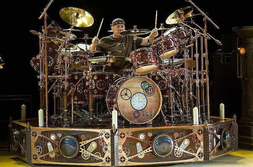 Neil Peart s drum kit  Photo by John Leyba  denverpost com reverb     Neil Peart s drum kit  Photo by John Leyba  denverpost com reverb