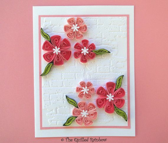 Quilled paper flowers quilled flowers card paper for Idee deco kart cross