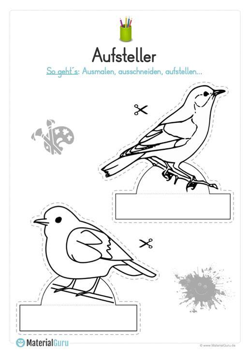 Ein kostenloser Bastel-Aufsteller zum Frühling, auf dem die Kinder zwei Vögel ausmalen, ausschneiden und aufstellen sollen. Jetzt kostenlos downloaden! #bastelprojektefürdenfrühling