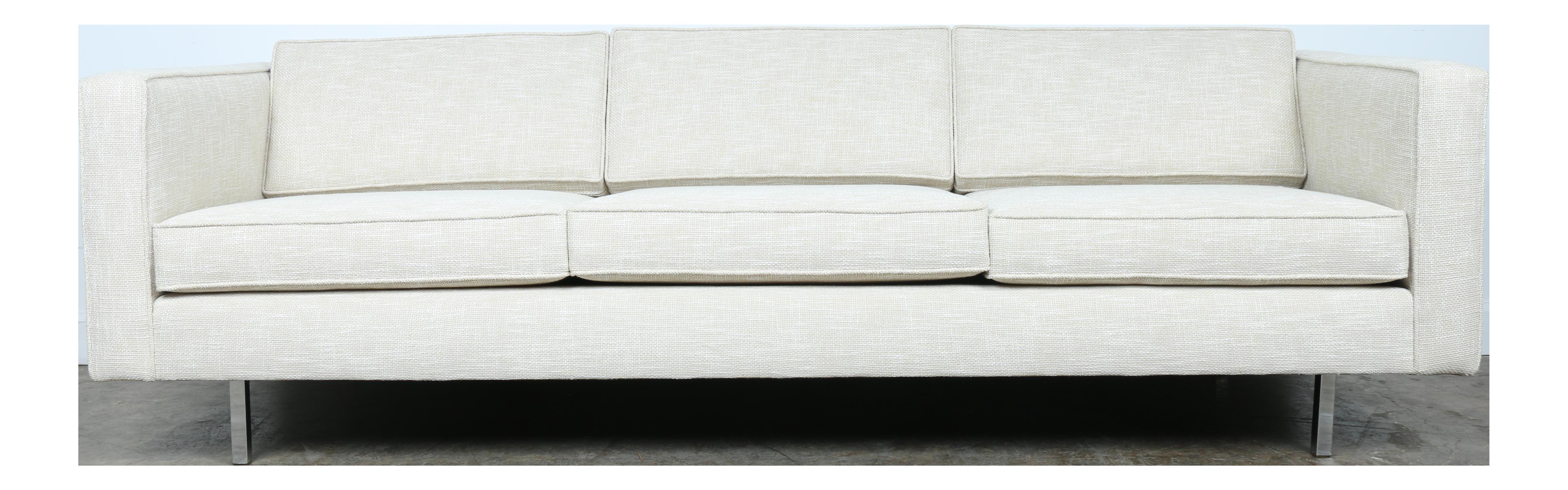 White Mid Century Sofa With Chrome Legs Century Sofa Mid Century Sofa Sofa