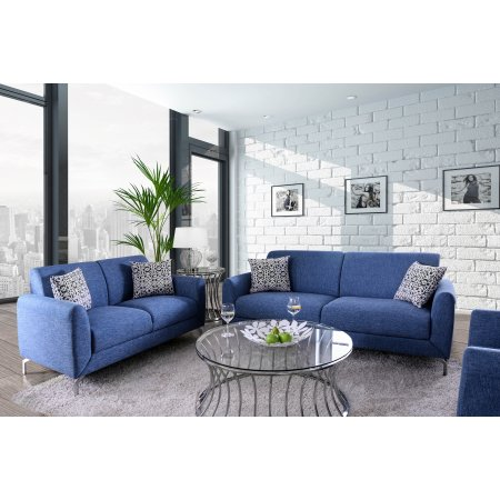 Furniture of America Calla Contemporary Blue Linen Sofa ...