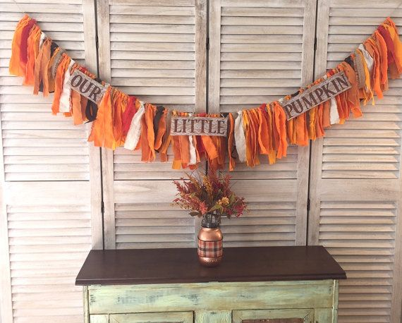 """Rustic """"Our Little Pumpkin"""" Orange Fabric and Burlap Baby Shower Banner, fall baby shower theme decor, pumpkin baby shower theme backdrop"""
