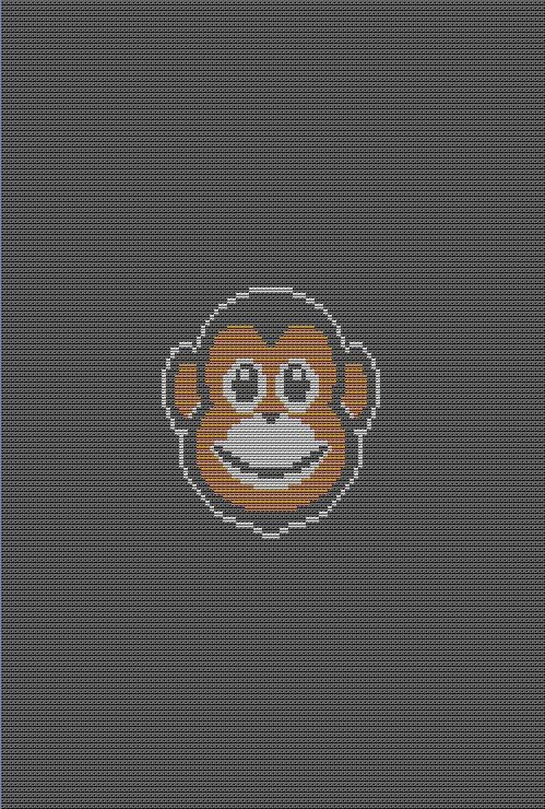 New color graph single crochet pattern - Monkey- copyright Tina Gibbons available for sale @ http://www.superlativestitchery.com/newcolorpatterns.html