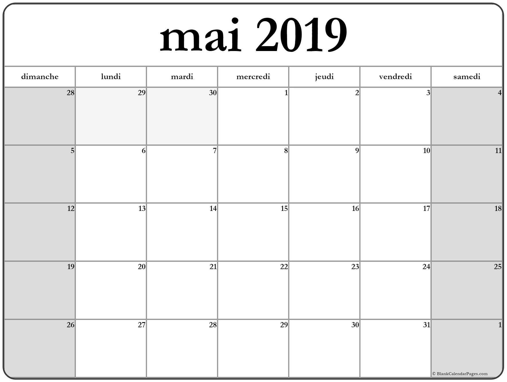 Calendrier Mai2019.Mai 2019 Calendrier Imprimable Calendrier Imprimable
