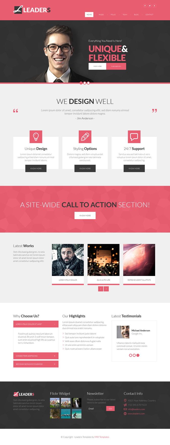 Leaders is multipurpose HTML bootstrap 3.1. template. It suits for any type of business, corporate, design studio, portfolio, personal website etc.