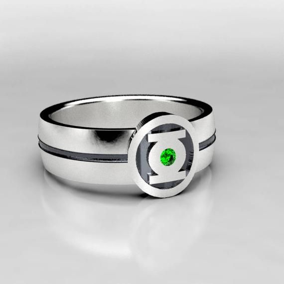 Green Lantern Wedding Ring Cosplay Mens Green Lantern Ring Etsy Emerald Wedding Rings Mens Wedding Bands Unique Wedding Rings